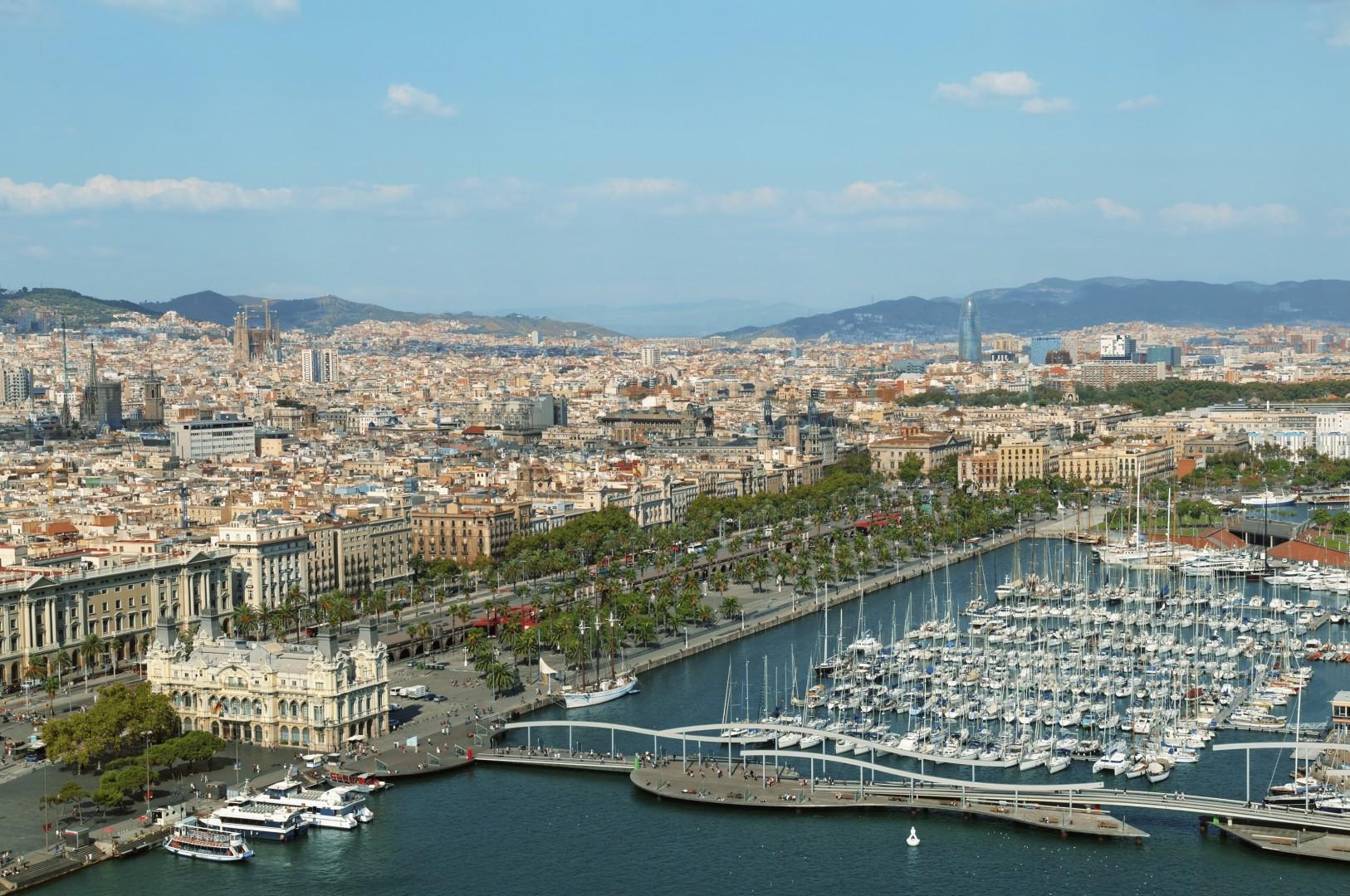 Barcelona skyline, includes: Port Vell, Sangrada Familia and Torre Agbar